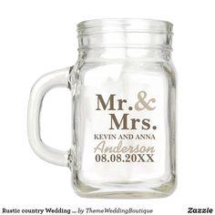 Barn Wedding Favors, Mason Jar Wedding Favors, Rustic Wedding Gifts, Wedding Mugs, Gifts For Wedding Party, Party Gifts, Custom Mason Jars, Personalized Mason Jars, Personalised Gifts