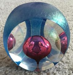 1988-Tom-Philabaum-Iridescent-Glass-Paperweight-Controlled-Tear-Drop-Bubble
