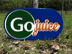 Logo design and carved and painted wood sign for Go juice, Nosara Costa Rica Nosara, Painted Wood Signs, Lululemon Logo, Costa Rica, Juice, Logo Design, Carving, Wood Carvings, Juices
