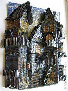 Clay Houses, Paper Houses, Miniature Crafts, Miniature Houses, Recycled House, Wal Art, Painted Driftwood, Cardboard Box Crafts, Doll House Crafts