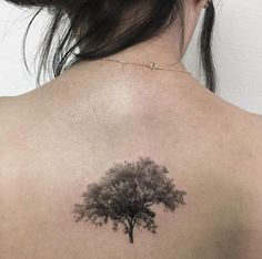 Black and Gray Ink Tree on Back by Hongdam