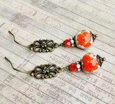 Victorian Earrings Orange Earrings Red Earrings by SmockandStone