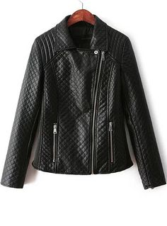 Fvogue High Quality Pure Black Plaid Decorated Zipperup Jacket----$34.99