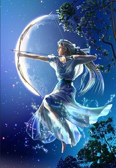 Drawing the silver bow to the full, Artemis, the goddess of the moon and hunting, is going to release a blessing arrow of light. If you want to have purity, come to the hill and you can have the breeze from the moonbow. If you want to have a good hunting, come in the woods and you can have the light from the moon.