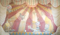 Another shot of the mural work I just finished in a baby nursery. Based on the characters created by Cindy Scaife. Wall Murals, It Is Finished, Nursery, Characters, Hand Painted, Create, Projects, Anime, Baby