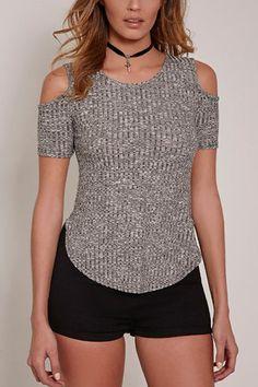 Gray Round Neck Cold Shoulder Short Sleeves Shirt - US$17.95 -YOINS
