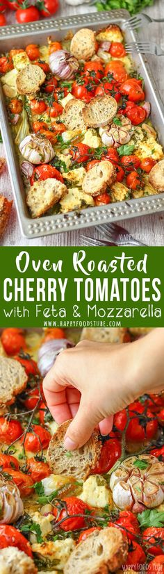 Oven Roasted Cherry Tomatoes with Feta and Mozzarella is a flavorful side dish perfect for spring or summer. #roasted #tomatoes #feta #mozzarella #sidedish #recipe #food #vegetarian #meal #cooking via @happyfoodstube