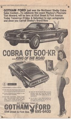 Gotham Ford Contest Advertisement to meet a #Playboy Bunny and see the new Shelby Cobra GT500KR Mustang