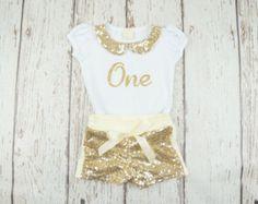 Glitter gold first birthday shirt Babies first by PoshPeanutKids