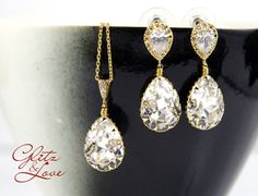 Sandra - Swarovski Crystal Teardrop Necklace Earrings, gifts for her, Bridesmaid Earrings, Bridal Jewelry, Wedding Jewelry, hollywood pretty