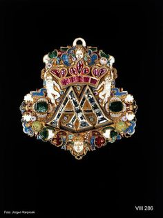 Pendant with the initials AA for the electoral couple Anna and August of Saxony Southern Germany (probably Nuremberg), 1548-1585