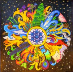 Maybe something like this for my business card - Mandala - Celebration of the Sun / Artist Kay Enns Mandala Art, Mandala Do Sol, Fractal Art, Stars And Moon, Sacred Geometry, Fantasy Art, Cool Art, Doodles, Artsy