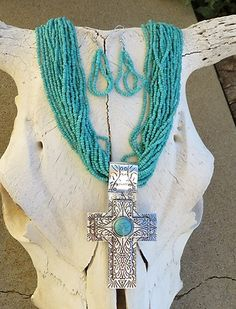 Cowgirl Bling SPANISH CROSS PENDANT Turquoise Southwestern Gypsy necklace set baha ranch western wear ebay seller id soloedition www.baharanchwesternwear.com