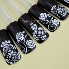 108PCS High Quality 3D Nail Art Stickers Decals For Nail Tips Decoration Tool Adhesive White Flowers  Large Size XL Q002 € 4,75