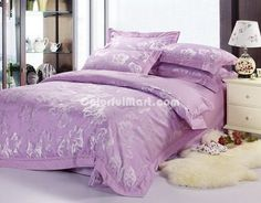 Lily Lilac 4 PCs Luxury Bedding Sets - $169.99 : Colorful Mart, All for Enjoyment