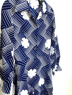 1970's Blue and White Floral Graphic Vintage  Dress by VintageCommon on Etsy