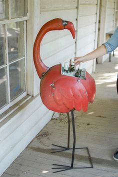 The Kalalou Recycled Iron Flamingo Cooler Planter is the most unique product designed ever. This bright and beautiful Flamingo will be a big hit in your party a