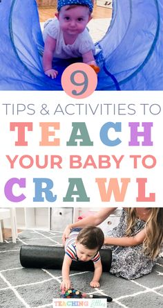 Are you trying to get your baby to crawl these easy tips and fun activities to teach your baby a new gross motor skill and get your infant to start crawling! Baby Development Chart, Toddler Development, Development Milestones, Teaching Babies, Baby Learning, Teaching Tips, Baby Sensory Play, Baby Care Tips, Baby Tips