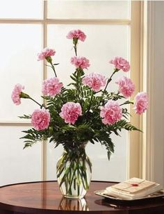 Dozen Pink Carnations-12 Pink carnations arranged in a vase with assorted greenery. #MissonViejoFlorist #MissionViejoFlowers #GetWellFlowers