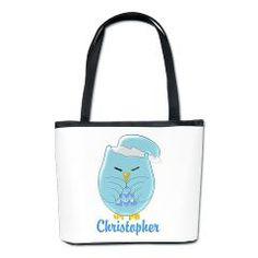 #Personalised #Blue Sleepy #Owl #Bucket #Bag
