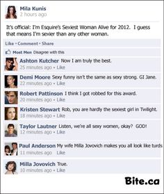 Mila Kunis updates her facebook status after being named sexiest woman alive