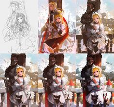 an awkward process, but whatever ! step 2 > 3 :well, that escalated quickly ////w//// Step by Step - Dreadnought Drawing Process, Painting Process, Process Art, Digital Painting Tutorials, Digital Art Tutorial, Art Tutorials, Cg Artwork, Sketches Tutorial, You Draw