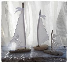 Set of Three Driftwood  Beach Decor Sail Boat Antique Lace and White Linen Sails Coastal Beach House Cottage Beach Seaside Wedding