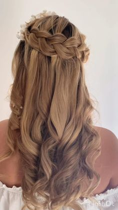 Bride Hairstyles For Long Hair, Wedding Hairstyles Half Up Half Down, Curls For Long Hair, Plaits Hairstyles, Braided Hairstyles, Hairstyle Short, School Hairstyles, Office Hairstyles, Anime Hairstyles