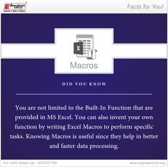 Macros are very commonly used in domains that require brisk number analysis. Engineer's Circle #facts #didyouknow