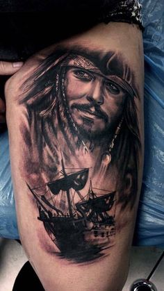 Pirates of the Caribbean tattoo by Kelvin. Limited availability at Salvation Tattoo Studios. Tatto Sleeve, Salvation Tattoo, Jack Tattoo, Medusa Tattoo, Blackwork, Disney Tattoos, Pirates Of The Caribbean, Tattoo Studio, Tattoo Inspiration
