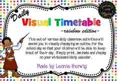 This is a set of bright and vibrant cards, with a rainbow star theme, show the daily activities that happen in the classroom.  It will assist you in visually displaying an outline for the school day so that your children will be able to keep track of their day.