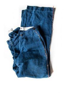 -1900's french indigo firemen workwear pants