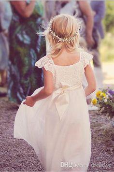 Beautiful crochet flower girl dress & babys breath floral crown @ My barn wedding Tulle Flower Girl, Cheap Flower Girl Dresses, Tulle Flowers, Girls Dresses, Flower Girl Headpiece, Flower Crowns, Flower Girl Crown, Bridesmaid Flowers, Bridesmaid Dresses