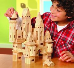 Discovery Kids 69 Piece Wooden Castle Block Set Hours Of Fun Build Castle Wooden Blocks For Kids, Blocks For Toddlers, Kids Wood, Wood Blocks, Wooden Castle, Kids Castle, Stacking Blocks, Wood Toys, Building Toys