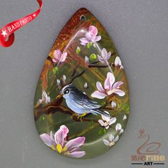 Art Deco Pendant Hand Painted style Bird Necklace Jewelry necklace ZL806457 #ZL #Pendant