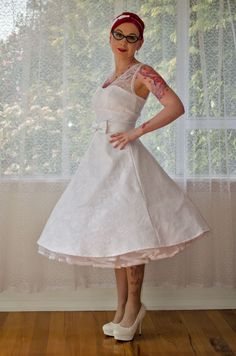 1950s Rockabilly Wedding Dress 'Gayle' with Lace by PixiePocket, $420.00