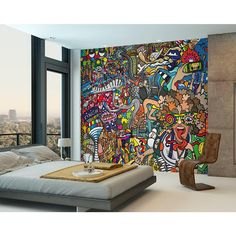 Celebrate the fun of sports with this playful Sports Illustrations mural. With a comic style, this modern mural bursts with color and embodies the excitement of athletics. Sports Illustrations Wall Mural comes on 6 panels. Home Interior, Interior Decorating, Interior Design, Scandinavian Interior, Bedroom Wall, Bedroom Decor, Bed Wall, Bedroom Ideas, Graffiti Bedroom