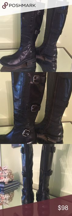 """Juicy Couture Boots Super cute black leather boot with 3 buckles and 1"""" heel (flat).  Great condition! Juicy Couture Shoes Heeled Boots"""