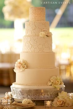 Amy Beck Cake Design - Chicago, IL - 5 tier lace inspired wedding cake - #amybeckcakedesign photo by Artisan Events