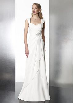 ATTRACTIVE A-LINE PORTRAIT NECK NATURAL WAIST CHIFFON WEDDING DRESS WITH BEADINGS LACE FORMAL PROM PARTY BALL GOWN
