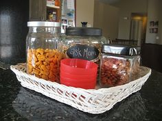 filled with healthy snacks with little bowls, snack station for kids