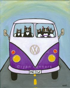 Purple Split VW Bus Original Cat Folk Art by KilkennycatArt