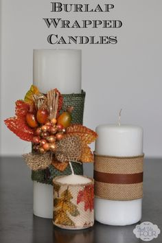 Easy Burlap Wrapped Candles-- imagine a purple ribbon tied around it and using purple candles too..