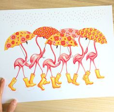 Pinkie, Pinkette, Ann-Pink, Mary-Pink, Johnny-Pink and Nancy come out in the rain in style and color! These flamingos with retro patterns floral umbrellas, make us a beautiful rain boots parade. And their necks are so long that one does not see their faces on umbrellas. The perfect print for flamingo lovers and to appreciate rainy days! Sizes available: 8 x 10. (20.32 x 25.40 cm) 11 x 14 (27.94 x 35.56 cm) Print from an original gouache, the colors are very bright on the print! Inkjet…
