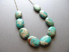 Aqua Terra Jasper on Brass Chain, Aqua Bib Necklace, Chunky Jewelry, Large Bead
