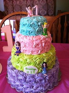 Fairy colorful Birthday cake i would use disney princesses and characters on each color that matched
