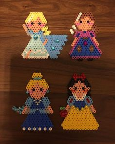 Elsa, Anna, Cinderella and Snow White - Disney Princess perler beads by bambi1231