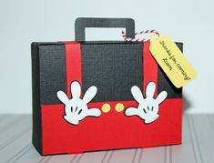 Mickey Mouse - Clubhouse - Bon Voyage Travel Suitcase - Paper Luggage, Wedding, Baby Shower, Birthday Favor Boxes (Any Color) Set of 10 by PaperletteDesigns on Etsy Mickey Mouse Clubhouse, Fiesta Mickey Mouse, Mickey Baby Showers, Disney Cards, Mini Album Tutorial, Mickey Mouse Birthday, Mickey And Friends, Mouse Parties, Mini Albums