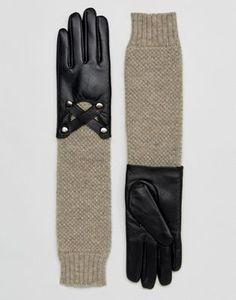 Кожаные перчатки с вязаными манжетами Barneys