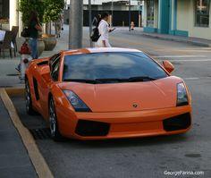 Lamborghini parked on Lincoln Road, Miami Beach.
